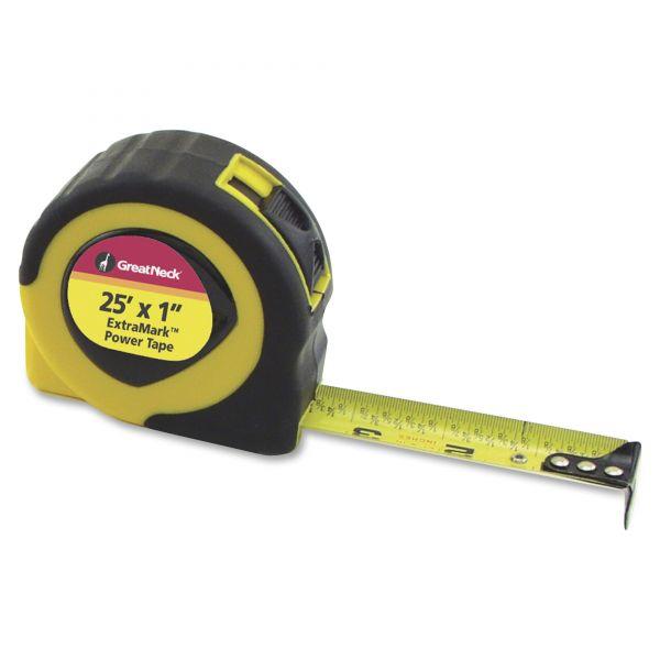 "Great Neck ExtraMark Power Tape, 1"" x 25ft, Steel, Yellow/Black"