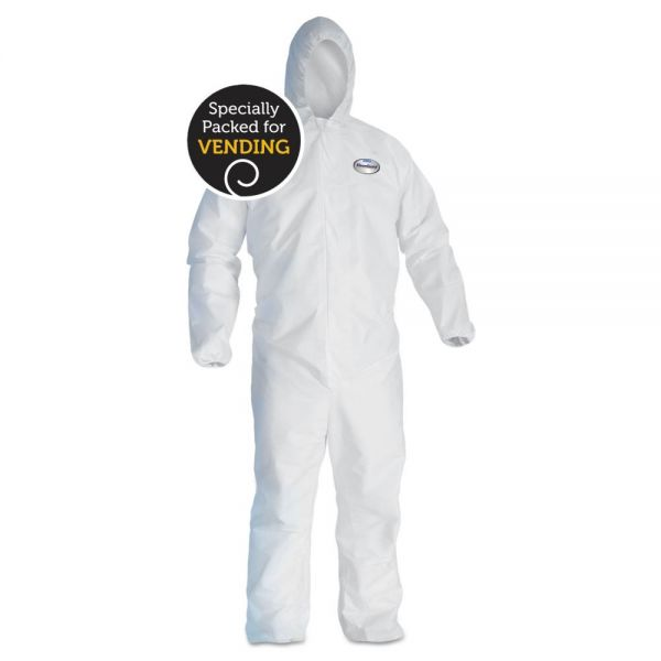 KleenGuard* A40 Elastic-Cuff and Ankle Hooded Coveralls, White, X-Large