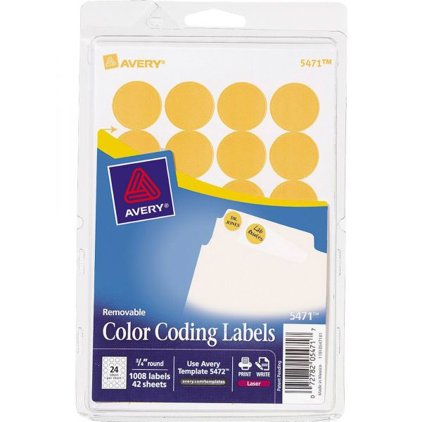 """Avery Printable Removable Color-Coding Labels, 3/4"""" dia, Neon Orange, 1008/Pack"""