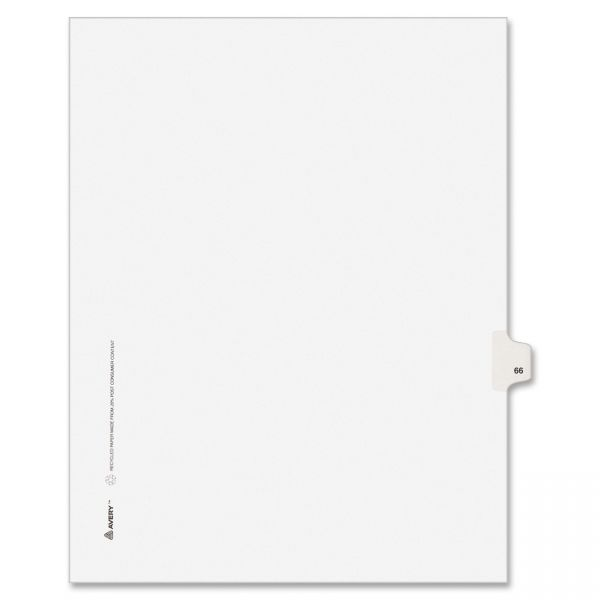 Avery-Style Legal Exhibit Side Tab Divider, Title: 66, Letter, White, 25/Pack