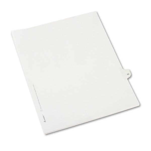 Avery Allstate-Style Legal Exhibit Side Tab Divider, Title: 33, Letter, White, 25/Pack