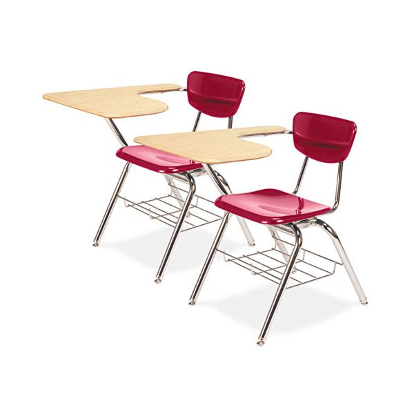 Virco 3700 Series Chair Desk, 20w x 31d x 30-1/2h, Fusion Maple/Red, 2/Carton