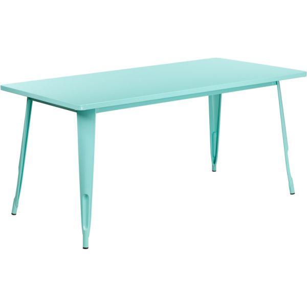 Flash Furniture 31.5'' x 63'' Rectangular Mint Green Metal Indoor-Outdoor Table