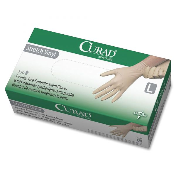 Curad Disposable Synthetic Stretch Vinyl Exam Gloves