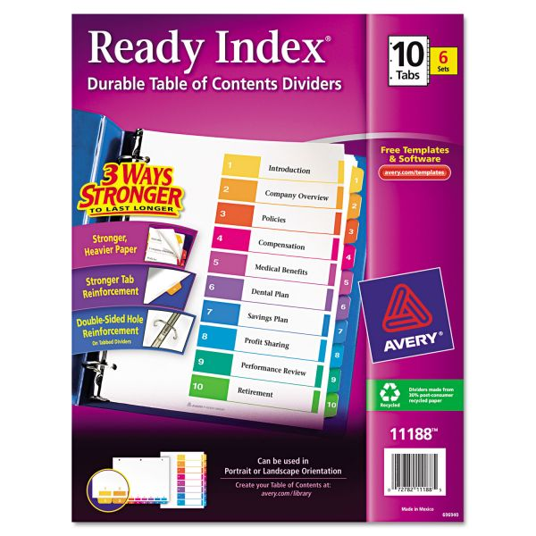 Avery Ready Index 10-Tab Numbered Dividers With Table Of Contents Page