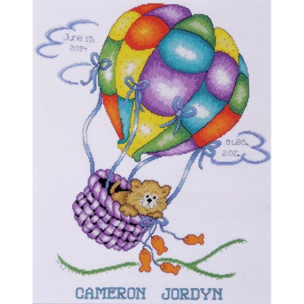 Balloon Cat Birth Record Counted Cross Stitch Kit