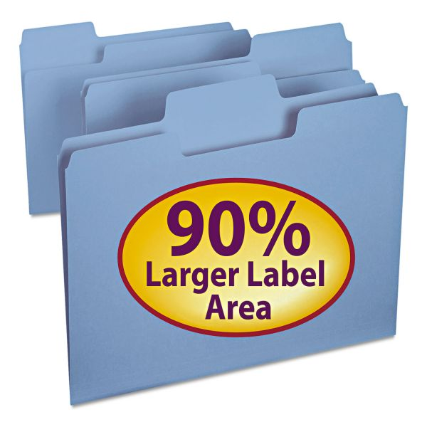 Smead SuperTab Blue Colored File Folders
