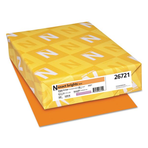 Neenah Paper Exact Brights Paper, 8 1/2 x 11, Bright Orange, 20lb, 500 Sheets