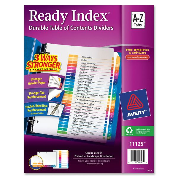 Avery Ready Index 26-Tab Alphabet Dividers With Table Of Contents Page