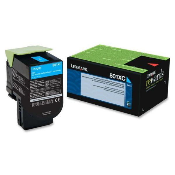 Lexmark 801XC Cyan Extra High Yield Return Program Toner Cartridge (80C1XC0)