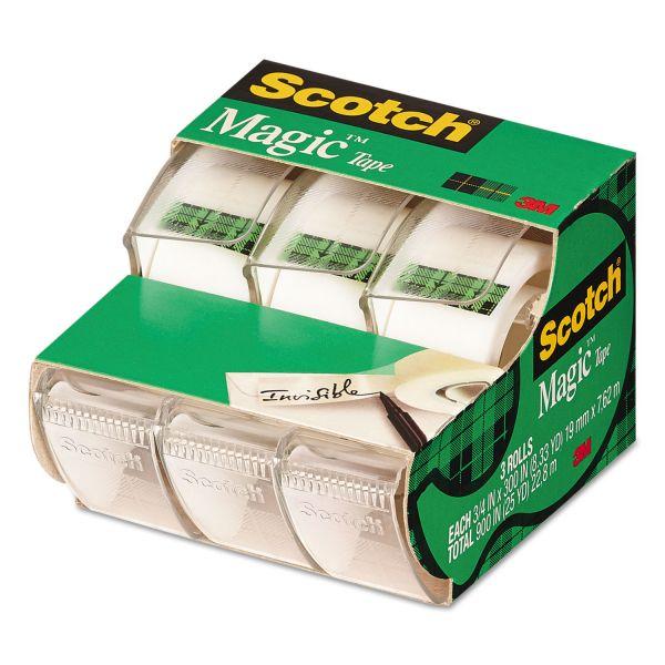 """Scotch Magic Tape in Handheld Dispenser, 3/4"""" x 300"""", 1"""" Core, Clear, 3/Pack"""