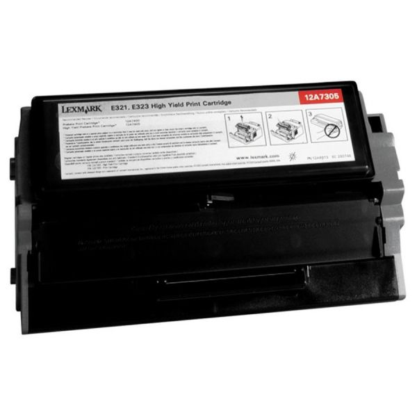 Lexmark 12A7305 High-Yield Toner, 6000 Page-Yield, Black