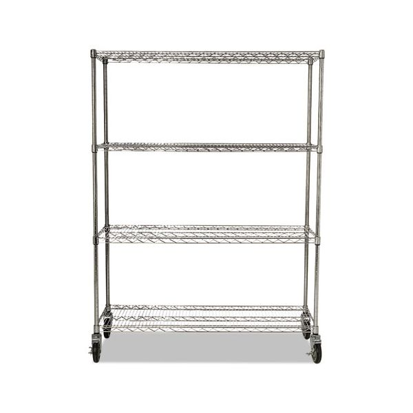 Rubbermaid Commercial ProSave Shelf Ingredient Bin Cart, Four-Shelf, 50w x 18d x 67 1/4h, Chrome