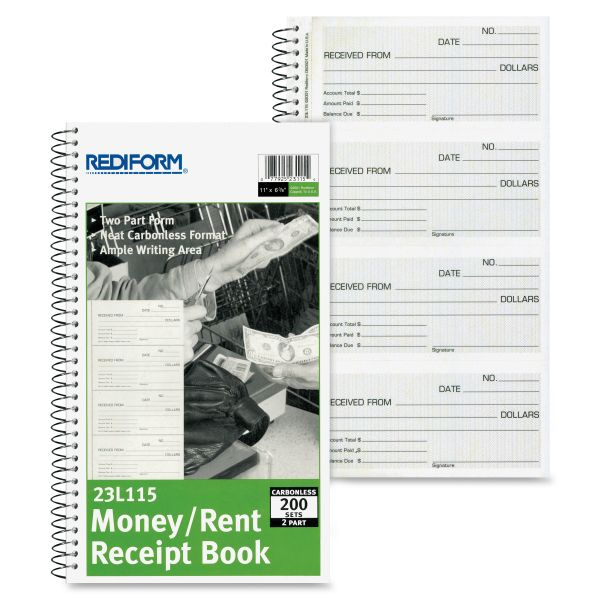 Rediform Received From 2-Part Receipt Book
