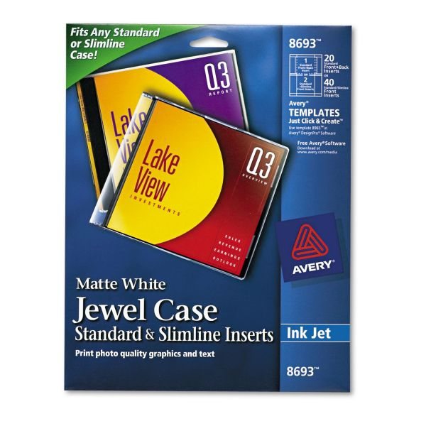Avery Inkjet CD/DVD Jewel Case Inserts, Matte White, 20/Pack