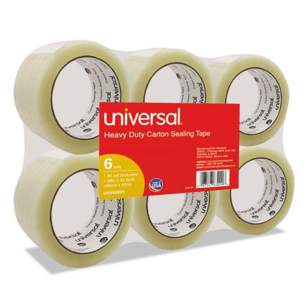 "Universal General-Purpose Box Sealing Tape, 48mm x 54.8m, 3"" Core, Clear, 6/Pack"