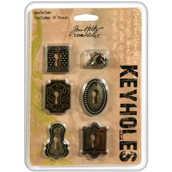 "Idea-Ology Keyholes W/Brads .75""X1"" To 1""X1.5"" 5/Pkg"