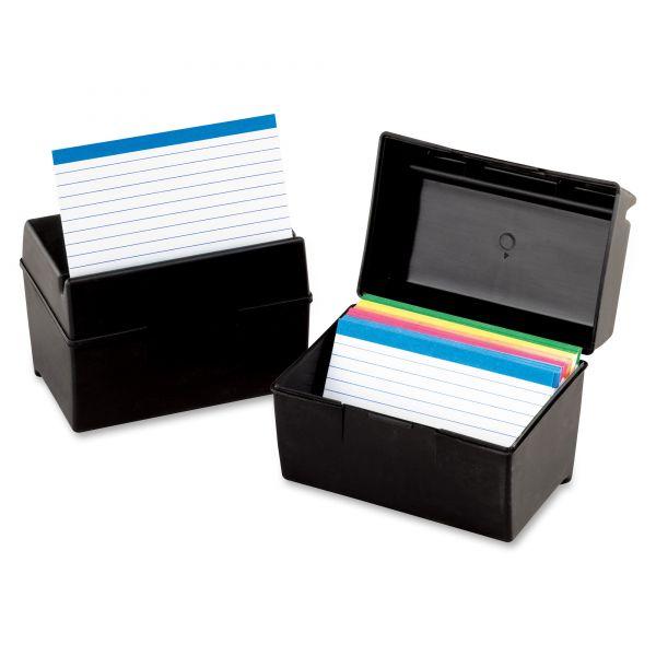 Oxford Plastic Index Card File, 300 Capacity, 5 5/8w x 3 5/8d, Black