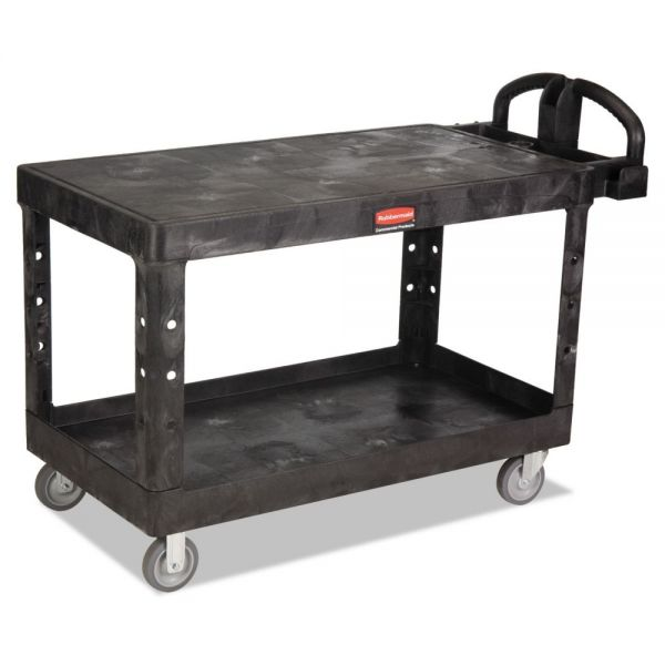 Rubbermaid Commercial Heavy-Duty 2-Shelf Utility Cart, TPR Casters, 25-1/4w x 54d x 36h, Black