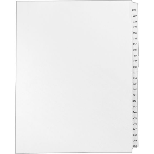 Avery Allstate-Style Legal Exhibit Side Tab Dividers, 25-Tab, 226-250, Letter, White