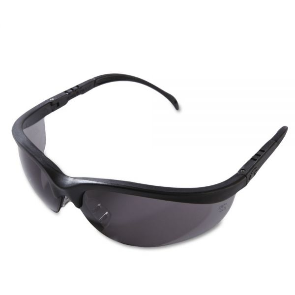 MCR Safety Klondike Safety Glasses, Matte Black Frame, Gray Lens