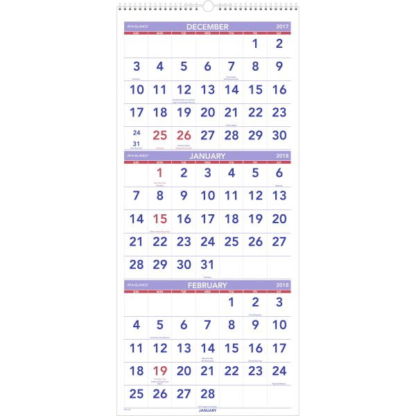 AT-A-GLANCE Vertical-Format Three-Month Reference Wall Calendar, 12 x 27, 2017-2019