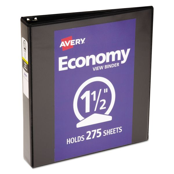 "Avery Economy View Binder w/Round Rings, 11 x 8 1/2, 1 1/2"" Cap, Black"