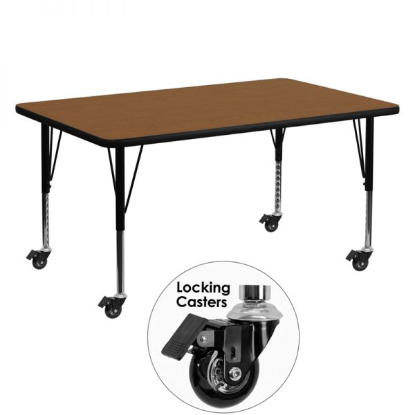 Flash Furniture Mobile 30''W x 60''L Rectangular Activity Table with 1.25'' Thick High Pressure Oak Laminate Top and Height Adjustable Preschool Legs