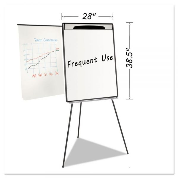 "MasterVision Magnetic Gold Ultra Dry Erase Tripod Easel W/ Ext Arms, 32"" to 72"", Black/Silver"