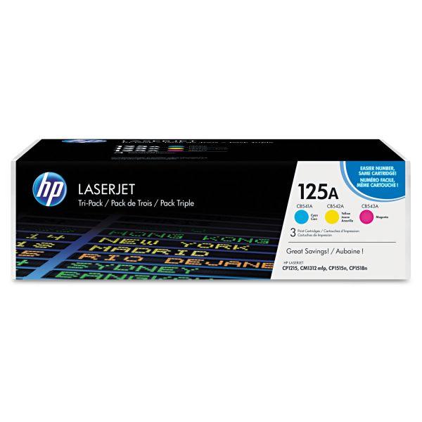 HP 125A, (CE259A) 3-pack Cyan/Magenta/Yellow Original LaserJet Toner Cartridges