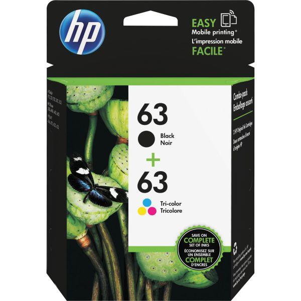 HP 63 Black/Color Combo Pack Ink Cartridges (L0R46AN)