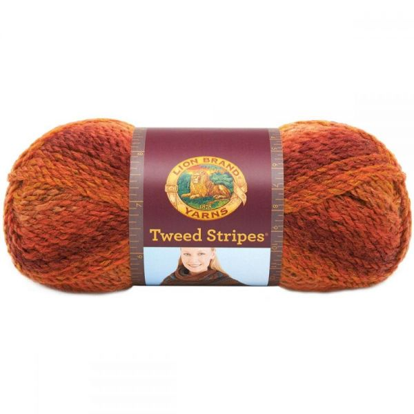 Lion Brand Tweed Stripes Yarn - Wildfire