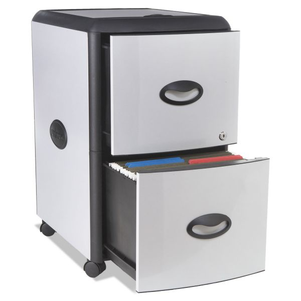 Storex Two-Drawer Mobile Filing Cabinet With Metal Siding, 19 x 15 x 23, Silver/Black