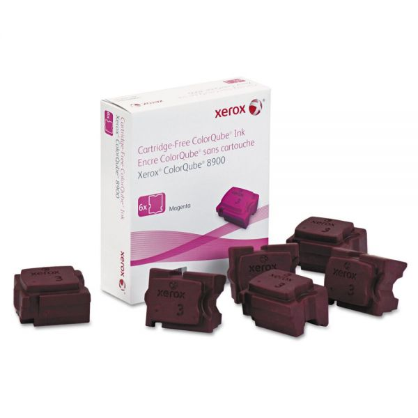 Xerox 108R01015 High-Yield Ink Stick, 16900 Page-Yield, Magenta, 6/Box