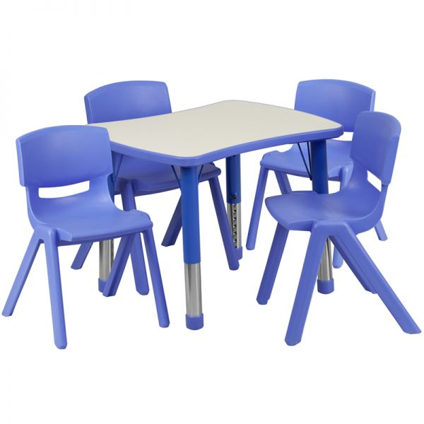 Flash Furniture 21.875''W x 26.625''L Adjustable Rectangular Blue Plastic Activity Table Set with 4 School Stack Chairs