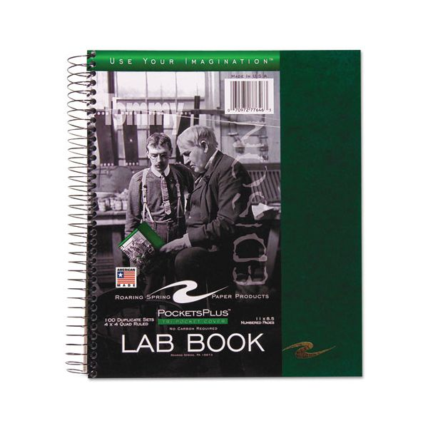 Roaring Spring Wirebound Lab Notebook, Quadrille Rule, Assorted Covers, 11 x 9, 100 Sheets/Pad