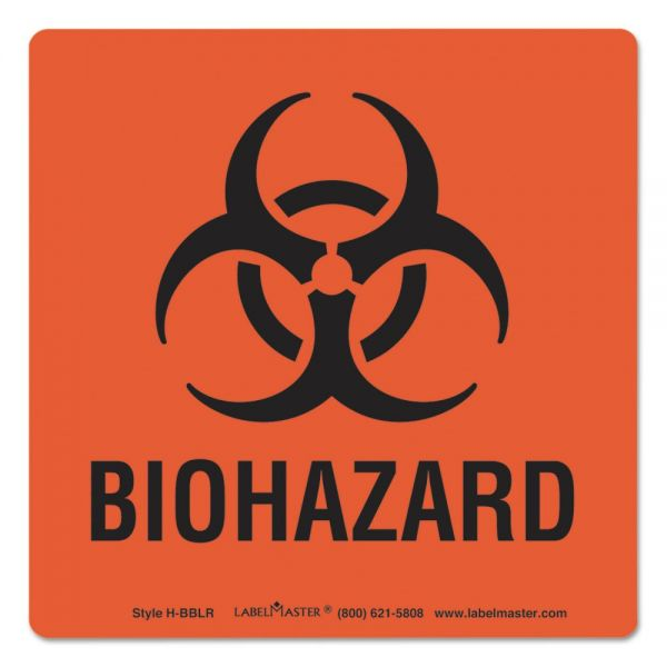 "LabelMaster Hazmat Self-Adhesive ""Biohazard"" Shipping Labels"