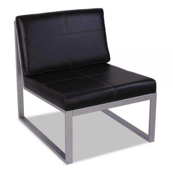 Alera Alera Ispara Series Armless Cube Chair, 26-3/8 x 31-1/8 x 30, Black/Silver