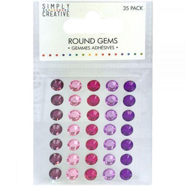 Simply Creative Round Adhesive Gems 35/Pkg