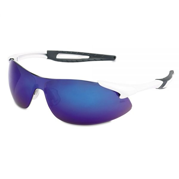MCR Safety Inertia Safety Glasses, White Frame, Blue Diamond Mirror Lens, One Size