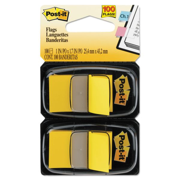 Post-it Flags Standard Page Flags in Dispenser, Yellow, 100 Flags/Dispenser