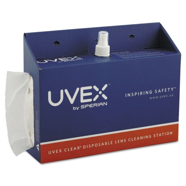 Uvex by Honeywell Portable Lens Cleaning Station, 1500 Tissues and 16oz Bottle of Solution