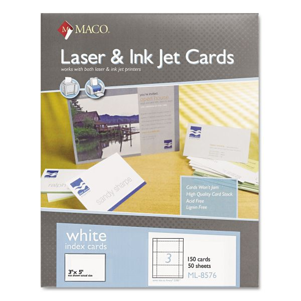 "Maco 3"" x 5"" Blank Index Cards"
