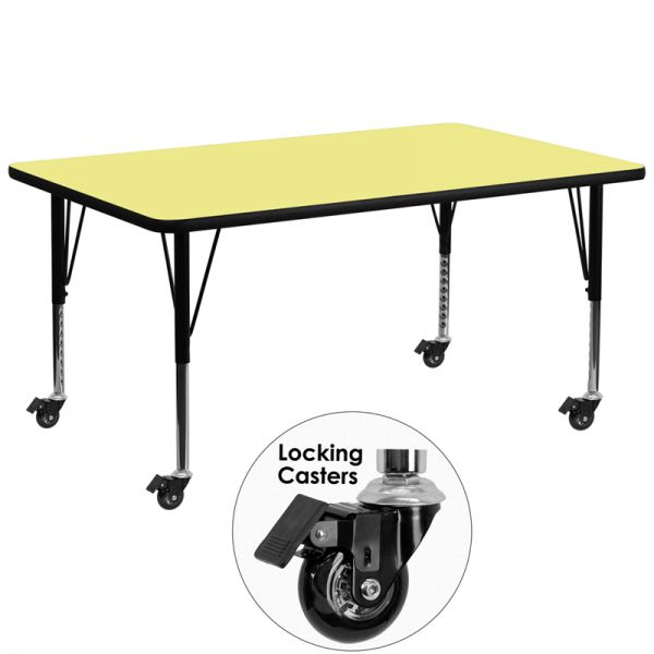 Flash Furniture Mobile 30''W x 72''L Rectangular Activity Table with Yellow Thermal Fused Laminate Top and Height Adjustable Preschool Legs