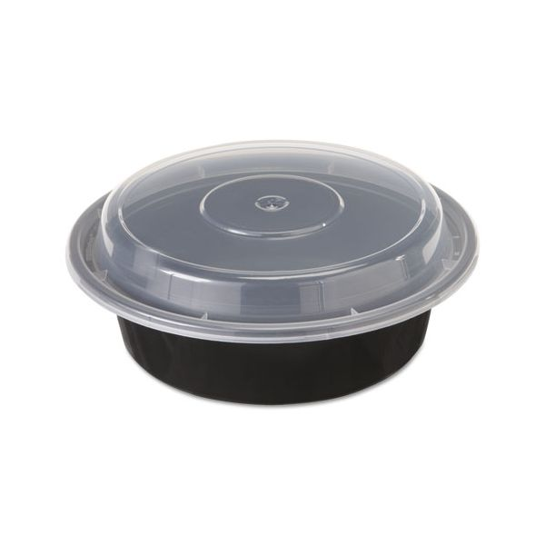 "Pactiv VERSAtainers, 1-Comp, Black/Clear, 16oz, 6""dia, 150/Carton"