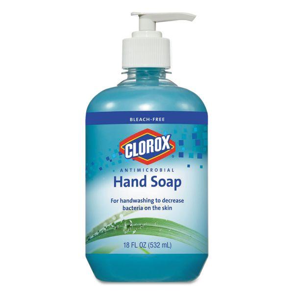 Clorox Antimicrobial Hand Soap, Unscented, Blue, 18 oz Pump Bottle