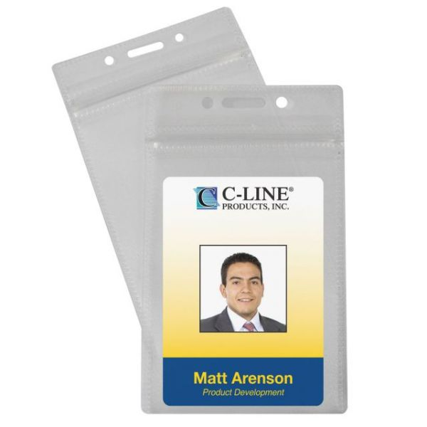 C-Line Zippered Vertical ID Badge Holders