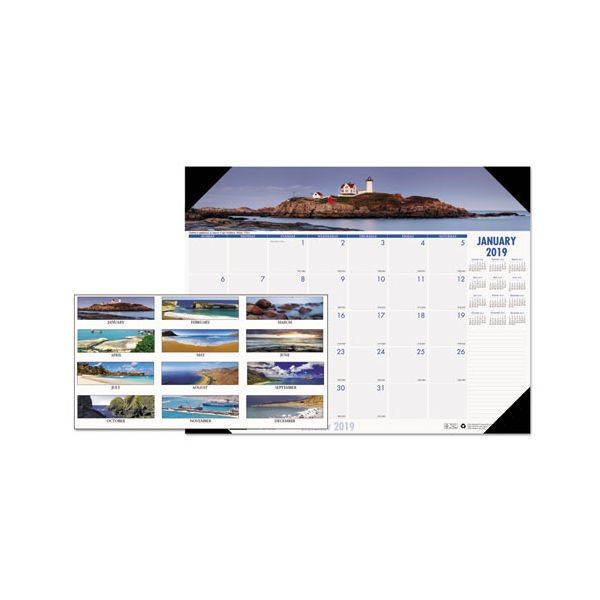 House of Doolittle Recycled Coastlines Photographic Monthly Desk Pad Calendar, 18 1/2 x 13, 2019