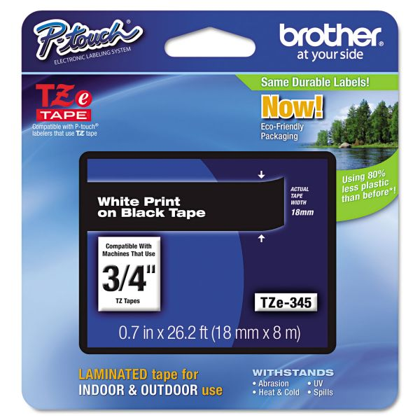 "Brother P-Touch TZe Standard Adhesive Laminated Labeling Tape, 3/4""w, White on Black"