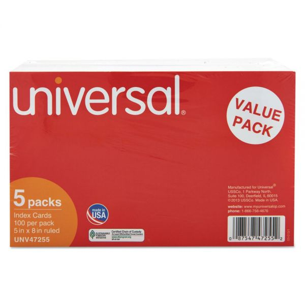 "Universal 5"" x 8"" Ruled Index Cards"